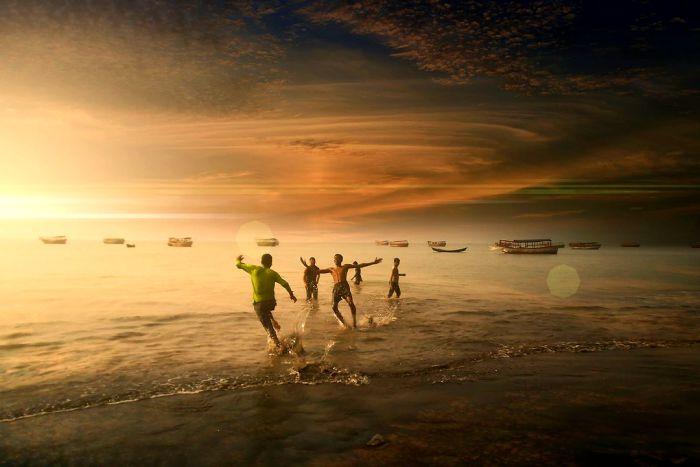 счастье, море, подростки