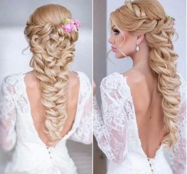 Свадебная прическа косой