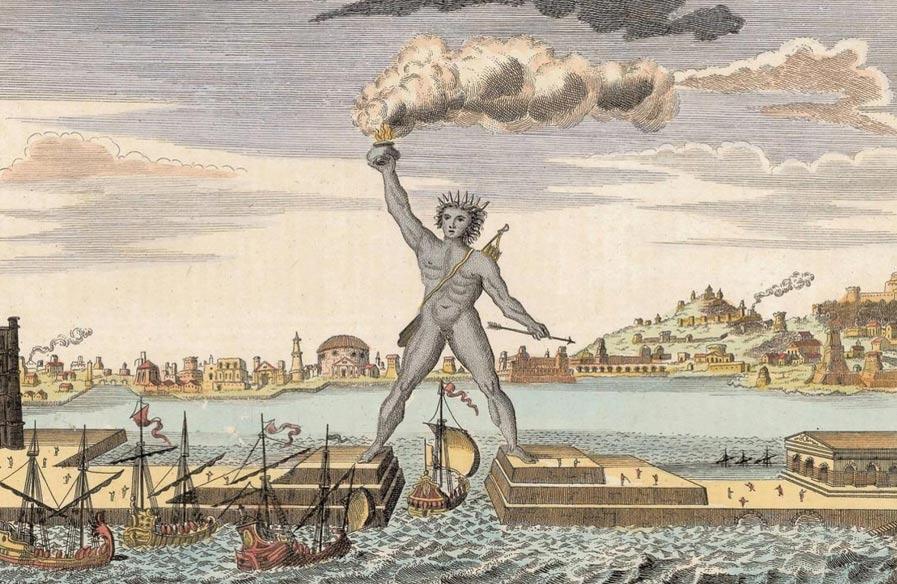 Гравюра с изображением Колосса Родосского.