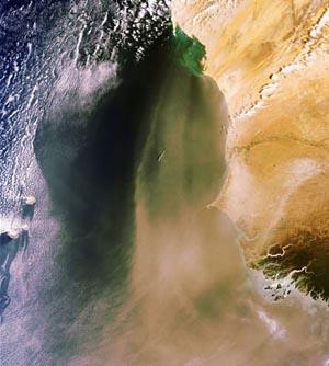 Спутник заснял бурю в пустыне Сахара