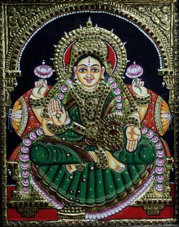 163 india kartini zoloto3 - Индийские картины в стиле танджор украшены золотом и драгоценными камнями