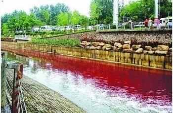 Вода в реке китайского города Нанкина стала красной от загрязнения