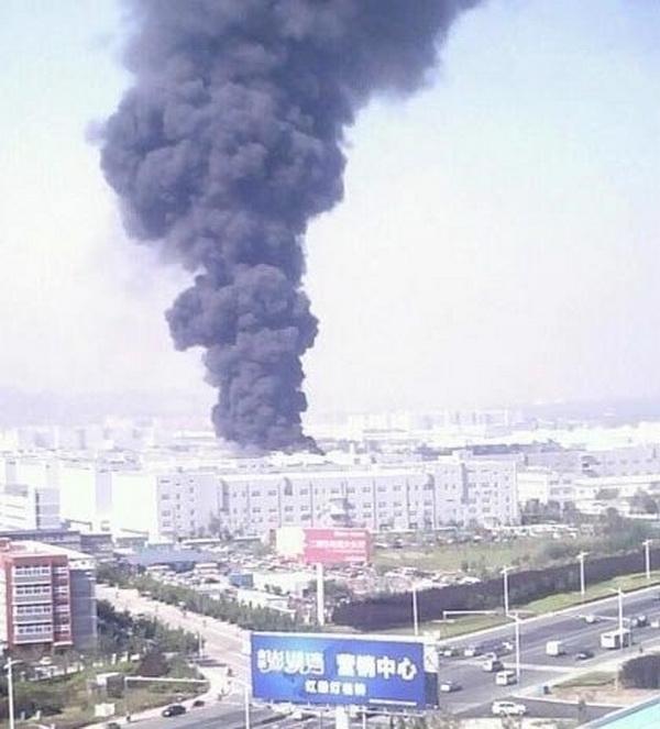 Пожар на заводе Foxconn в городе Янтай в Китае