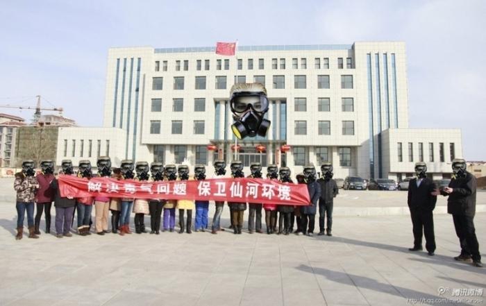 191 shandong - На востоке Китая крестьяне протестует против выбросов химического завода