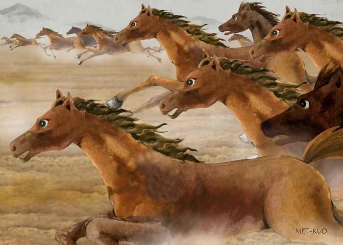 Китайские идиомы: тысячи лошадей мчатся галопом