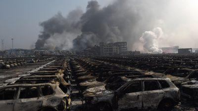 После взрывов порт в Тяньцзине выглядит ужасающе (видео с дрона)