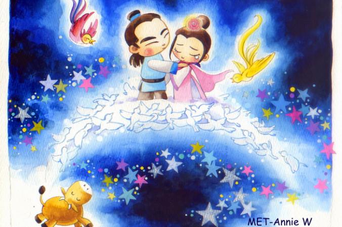 В ночь на седьмой день седьмого лунного месяца Нюлан и Чжиню могут пересечь Млечный путь через мост из сорок. Это единственный раз в году, когда они могут встретиться. Иллюстрация: Annie Wu/Epoch Times   Epoch Times Россия