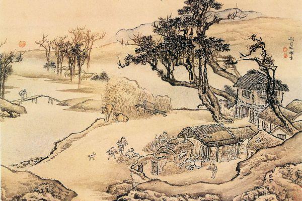 Фермерское хозяйство, рисунок Цин Ен. Фото: epochtimes.com, общественное достояние | Epoch Times Россия