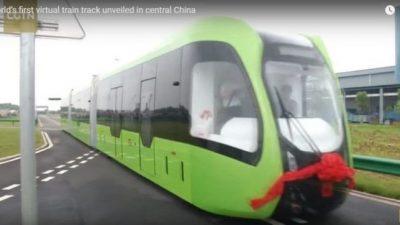 В Китае презентовали беспилотный и безрельсовый трамвай (видео)