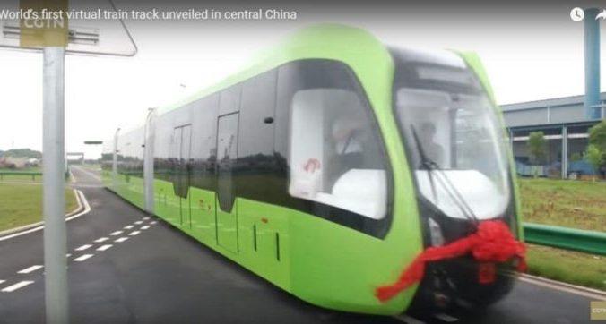 Безрельсовый беспилотный трамвай в Китае. Скриншот: CGTN/youtube.com | Epoch Times Россия