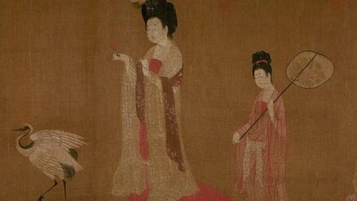 Придворные дамы с цветами в волосах на знаменитом свитке Чжоу Фана