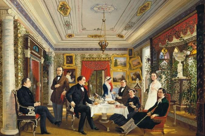 За чайный столом, художник А. Я. Волосков. (1851) Фото: ru.wikipedia/СС0   Epoch Times Россия