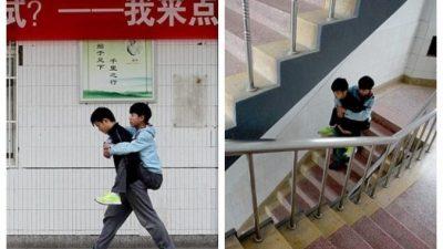 Парень 3 года носил одноклассника-инвалида в школу и обратно. История о настоящей дружбе!