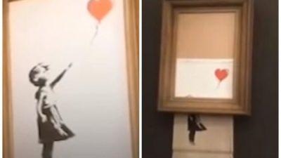 Картина самоуничтожилась после продажи её на аукционе. Это впервые в истории мирового искусства