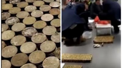 Мужчина купил BMW, выплатив первый взнос 10 ящиками монет (видео)