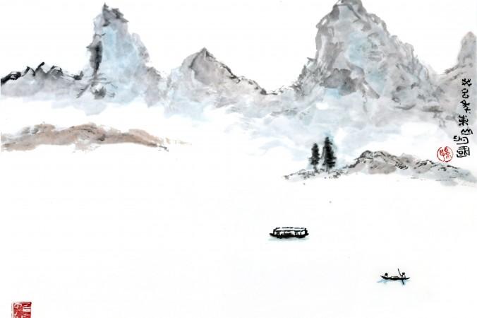 Китайский пейзаж, акварель Sun Mingguo/Epoch Times | Epoch Times Россия