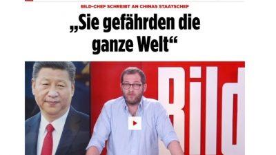 Главный редактор крупнейшей немецкой газеты Bild опубликовал обращение к Си Цзиньпину: «Вы подвергаете опасности мир»