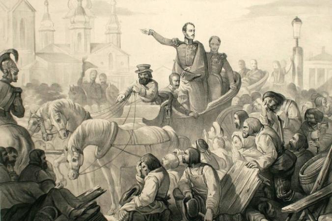 Николай I во время холерного бунта на Сенной площади commons.wikimedia.org/ public domain | Epoch Times Россия