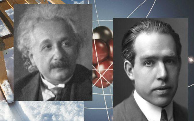 Нилс Бор, ок. 1922 (R) и Альберт Эйнштейн. (Нилс Бор: AB Lagrelius & Westphal; Альберт Эйнштейн: общественное достояние; Фон: Александр Бедрин / iStock)   Epoch Times Россия