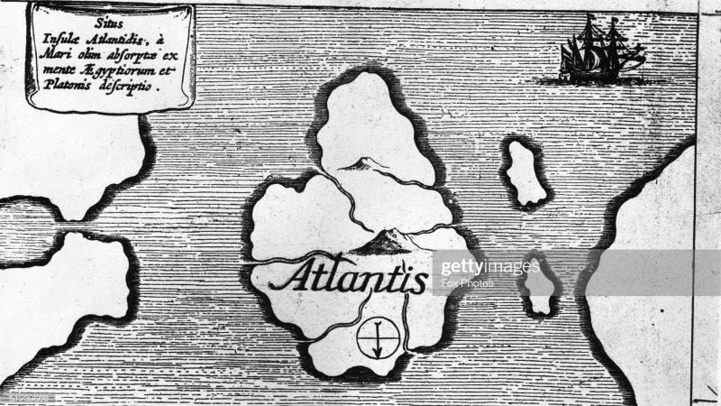 Около 1600 г. Иллюстрация из опубликованной в Германии старой книги «Земля Сила и Воздух» с изображением карты острова Атлантида. (Фото Fox Photos / Getty Images)   Epoch Times Россия