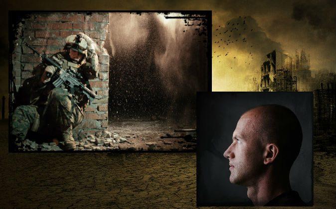 Архивные изображения солдата на войне и мужчины. (Shutterstock *) Фон: иллюстрация разрушенного войной района. (Дж. М. Герке / iStock / Thinkstock) | Epoch Times Россия
