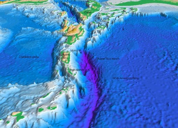 Перспективное изображение морского дна Атлантического океана и Карибского моря. Фото: Public Domain   Epoch Times Россия