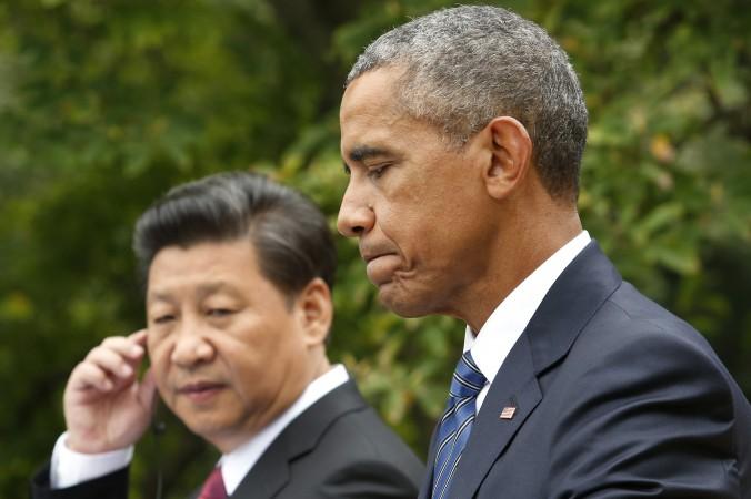 Американский президент Барак Обама и генсек КПК Си Цзиньпин на совместной пресс-конференции в Белом доме, Вашингтон, 25 сентября 2015 года. Фото: YURI GRIPAS/AFP/Getty Images | Epoch Times Россия