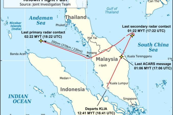 Маршрут Boeing 777, установленный на основании сведений от военных радаров. Фото: AHeneen/wikipedia.org/CC BY 3.0 | Epoch Times Россия
