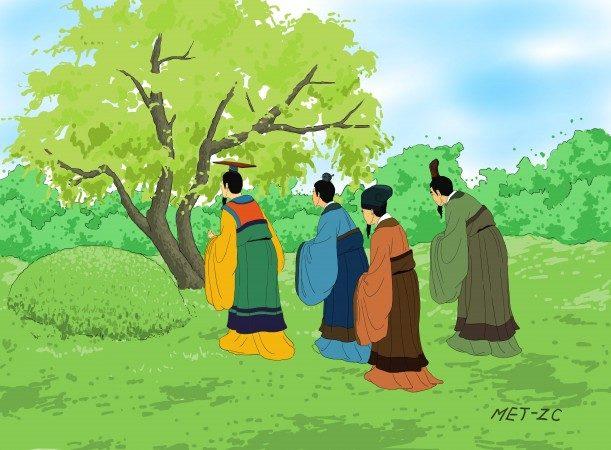 На следующий год правитель государства Цзинь посетил могилу Цзе. К своему удивлению он увидел, что обгоревшая большая ива была полна новых ветвей и зелёных листьев. Казалось, будто Цзе приветствовал и поощрял Чун Эра быть мудрым и справедливым правителем. Иллюстрация: Zhiching Chen/Epoch Times   Epoch Times Россия