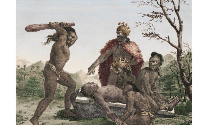 Иллюстрация ритуального человеческого жертвоприношения в традиционной гавайской культуре, задокументированная французским исследователем и художником Жаком Араго в 1819 году (Жак Араго, «Promenade Autour Du Monde», 1822). | Epoch Times Россия