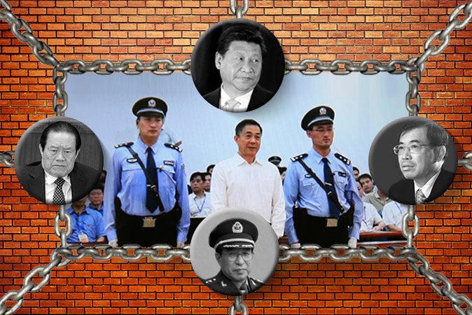Иллюстрация Luis Novaes/Epoch Times: (слева) Чжоу Юнкан (Liu Jin/AFP/GettyImages); (сверху) Си Цзиньпин (Hagen Hopkins/Getty Images); (справа) Ли Дуншэн (China Photos/Getty Images); (внизу) генерал Сюй Цайхоу (AFP/Jim Watson); (в центре) осуждённый пожизненно Бо Силай 22 сентября 2013 года, Пекин, Китай (Feng Li/Getty Images). | Epoch Times Россия