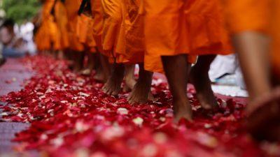 Буддийские монахи прошли маршем за мир во всем мире