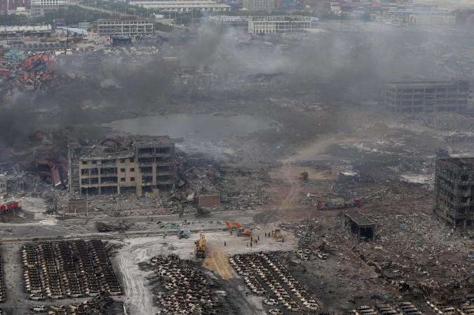 Панорама места взрывов в Тяньцзине, 14 августа 2015 года. Фото: STR/AFP/Getty Images   Epoch Times Россия
