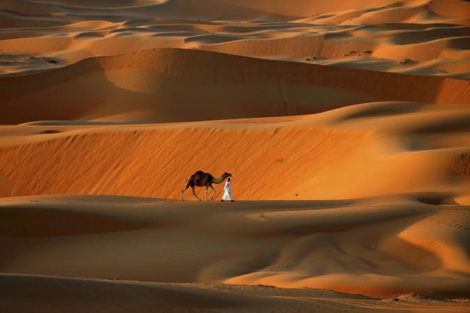 20 декабря. Человек ведёт своего верблюда через пустыню вблизи оазиса Лива к юго-западу от Абу-Дабу, ОАЭ. Фото: Karim Sahib/AFP/Getty Images | Epoch Times Россия
