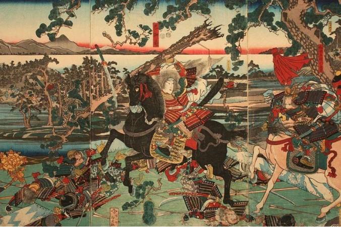 «Томоэ Годзе в битве у Авазу», рисунок в стиле укиё. Фото: Wikimedia   Epoch Times Россия