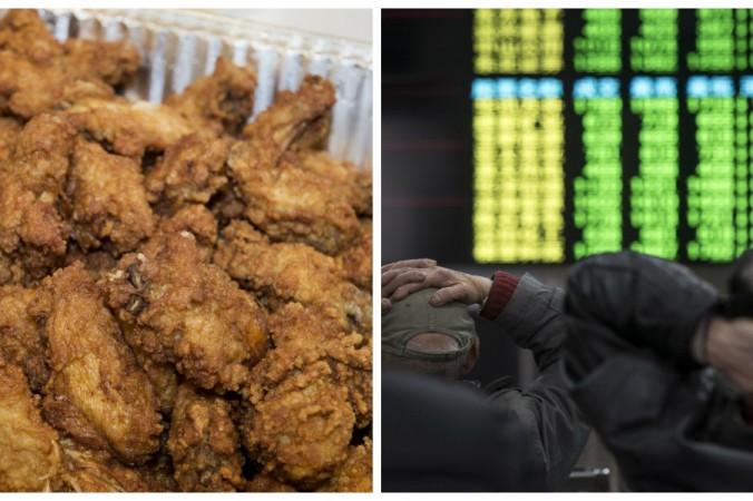 Слева: Куриные крылышки. Справа: китайские инвесторы на шанхайской бирже 27 января 2016 г. Фото: PAUL J. RICHARDS/AFP/Getty Images and JOHANNES EISELE/AFP/Getty Images | Epoch Times Россия