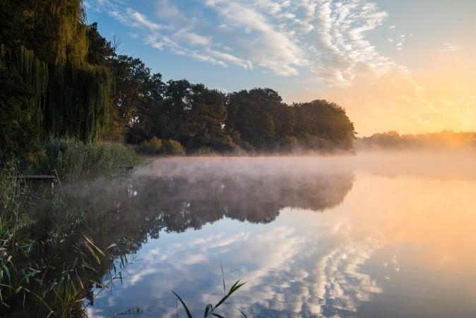 Утреннее солнце светит сквозь туман над озером Штарнбергер Зее в Алт-Цешдорф, Германия. Фото: Patrick Pleul/AFP/Getty Images   Epoch Times Россия