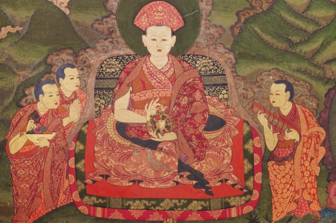 Тензин Рабджи и слуги, настенная живопись, конец XVII века, zimkhang, Монастырь Танго, Бутан. wikipedia.org. Общественное достояние   Epoch Times Россия