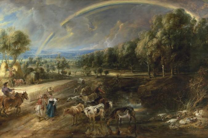 Картина Питера Пауля Рубенса «Радужный пейзаж», около 1636 года, из коллекции Уоллеса, представленная на выставке «Рубенс: воссоединение великих пейзажей» в The Wallace Collection в Лондоне. (Попечители коллекции Уоллеса, Лондон) | Epoch Times Россия