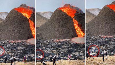 Шокирующее видео из Исландии: игра в волейбол у подножья извергающегося вулкана