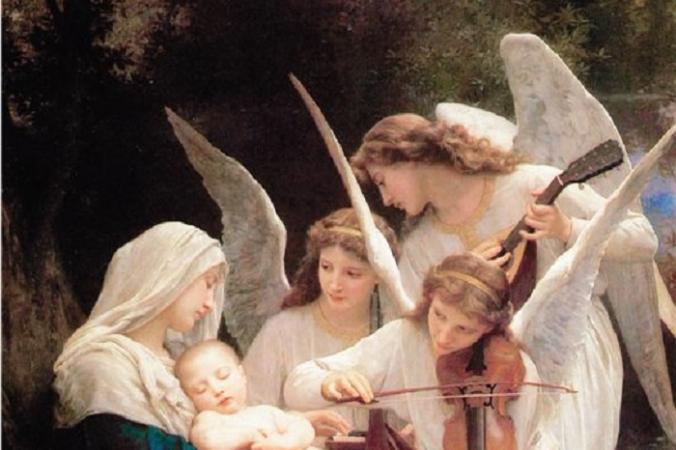 Фрагмент картины «Дева с ангелами (Песнь ангелов)» 1881 года Уильяма Бугро. Масло, 84 дюйма на 60 дюймов. Музей лесной лужайки, Калифорния. (Всеобщее достояние) | Epoch Times Россия