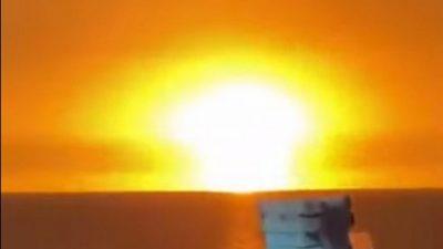 Извержение вулкана стало причиной взрыва наКаспийском море вАзербайджане (Видео)
