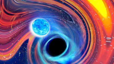 Космическая трапеза: Чёрная дыра проглотила нейтронную звезду