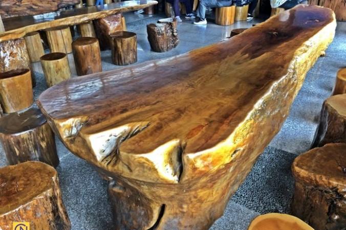 В Тайване есть кофейня Вангбо, в которой мебель сделана из пней