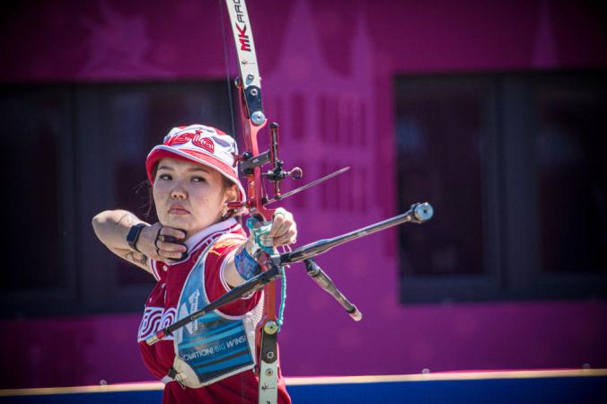 Российская лучница Светлана Гомбоева.Фото: by Dean Alberga/Handout/World Archery Federation via Getty Images   Epoch Times Россия