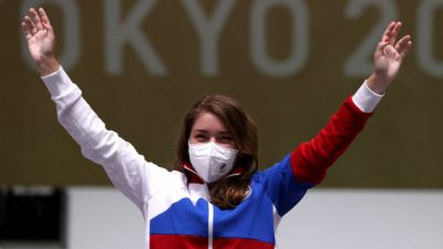 Первое олимпийское золото России завоевала Виталина Бацарашкина