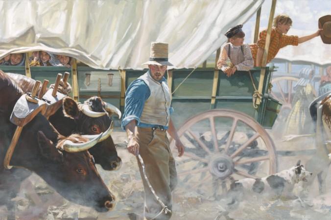 Первопроходцы едут в обозе по тропе, ведущей на Запад, 1840-е годы.