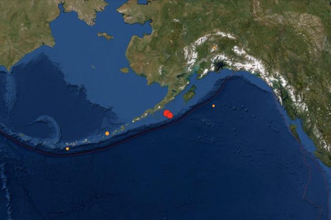 29 июля 2021 года у побережья Аляски было зарегистрировано мощное землетрясение магнитудой 8,2. (Screenshot/USGS)   Epoch Times Россия
