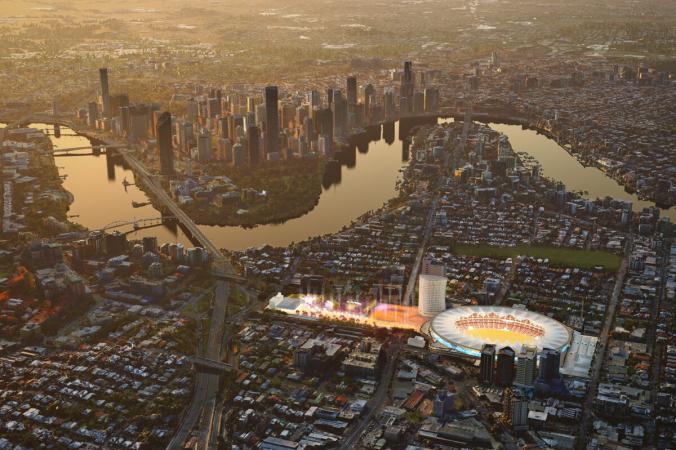 Предлагаемая модернизация стадиона «Габба» и пешеходной площади. ((Queensland Government)   Epoch Times Россия