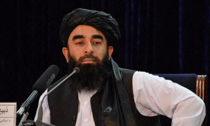 Пресс-секретарь «Талибана» Забихулла Муджахид на пресс-конференции в Кабуле, Афганистан, 24 августа 2021 г. Hoshang Hashimi/AFP via Getty Images | Epoch Times Россия